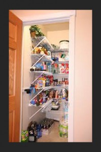 Walk-in pantries may be a less expensive alternative to kitchen cabinets.